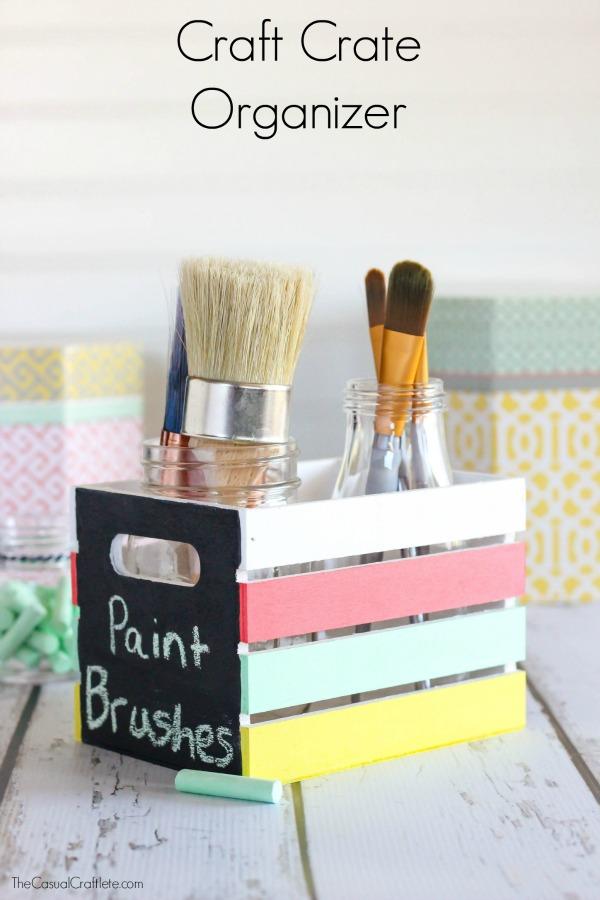 DIY chalkboard crate desk organizer