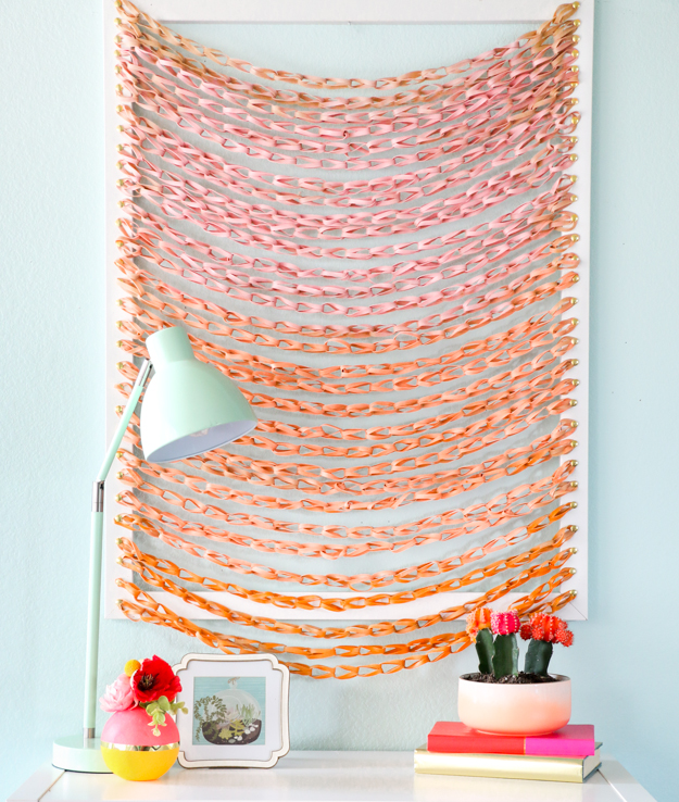 DIY faux woven wall hanging (via akailochiclife.com)
