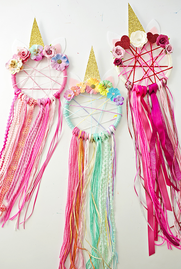 DIY colorful unicorn dream catcher (via www.hellowonderful.co)