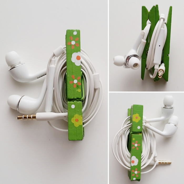 DIY painted upcycled clothespin ear bud holder