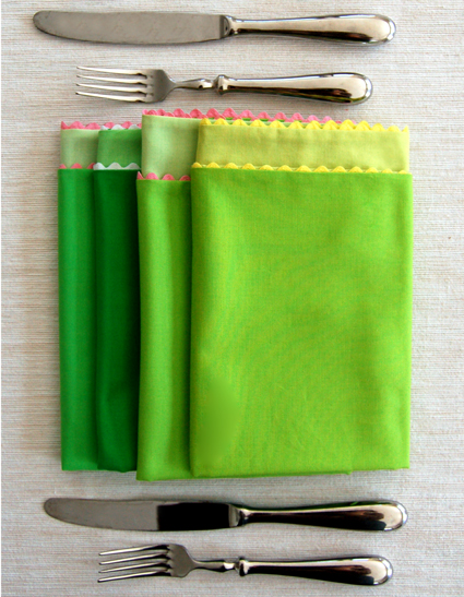 DIY double-sided colorful spring napkins (via www.purlsoho.com)