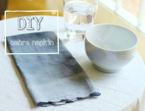 DIY ombre grey napkins (via www.shelterness.com)