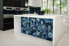 02 a bold blue agate and white kitchen island is a show stopper in this contemporary kitchen