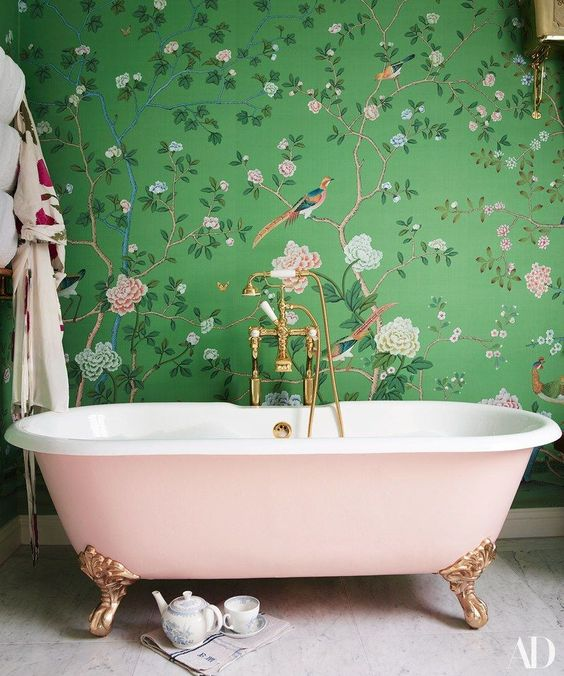 A Girlish Space With Green And Pink Floral Print Wallpaper Blush Bathtub For