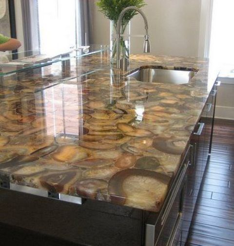 an elegant brown agate countertop is a timeless choice for a kitchen