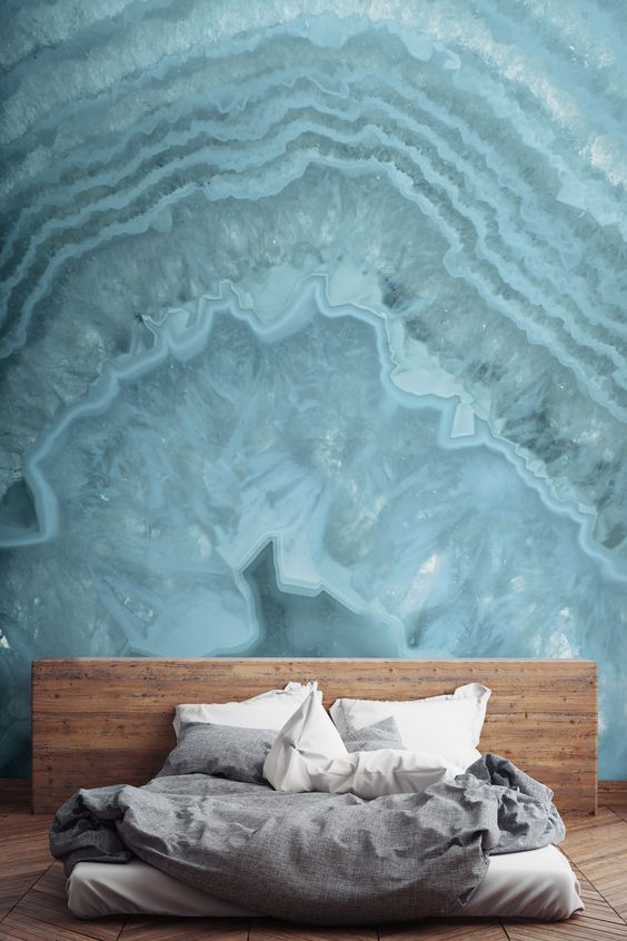 a blue crystal wall mural makes a statement and reminds of the sea at the same time