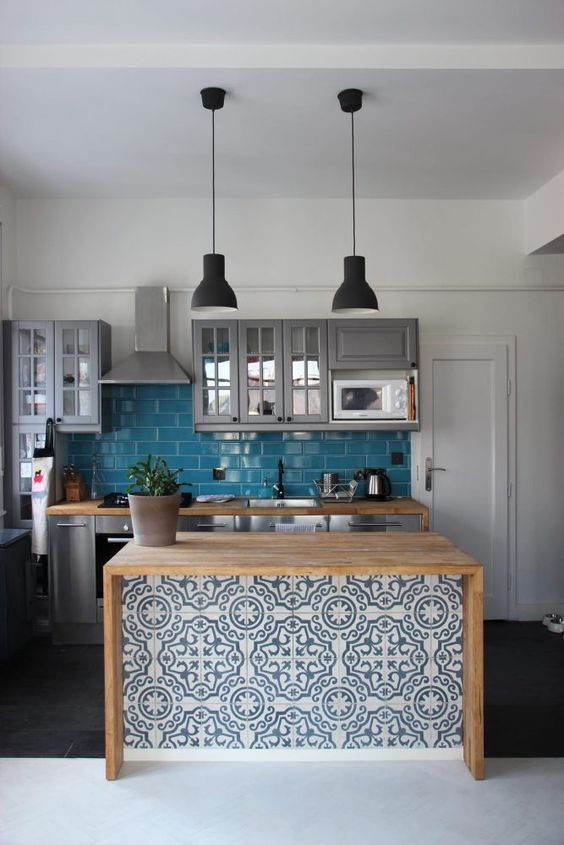 stylish tiled kitchen island