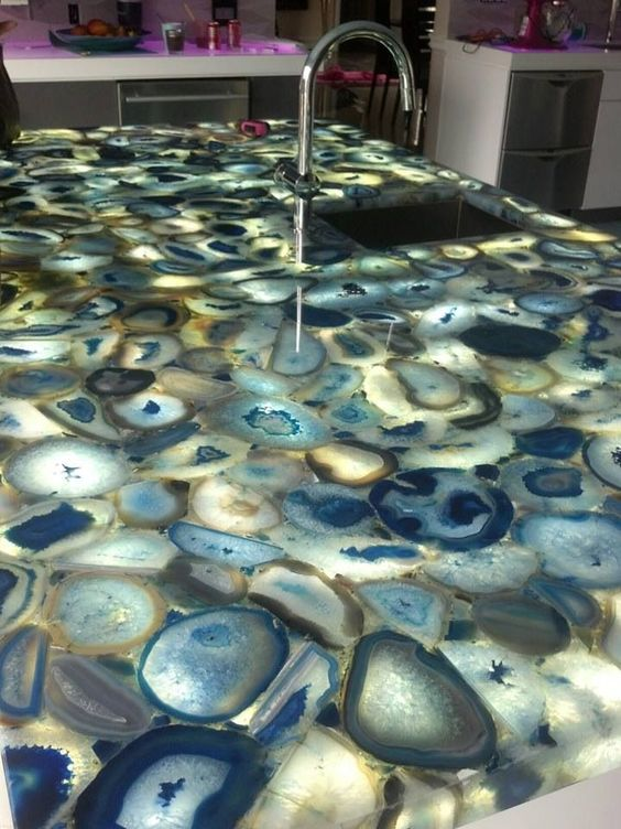A Blue Agate Countertop Is A Trendy Alternative For Those Who Donu0027t Want  Marble