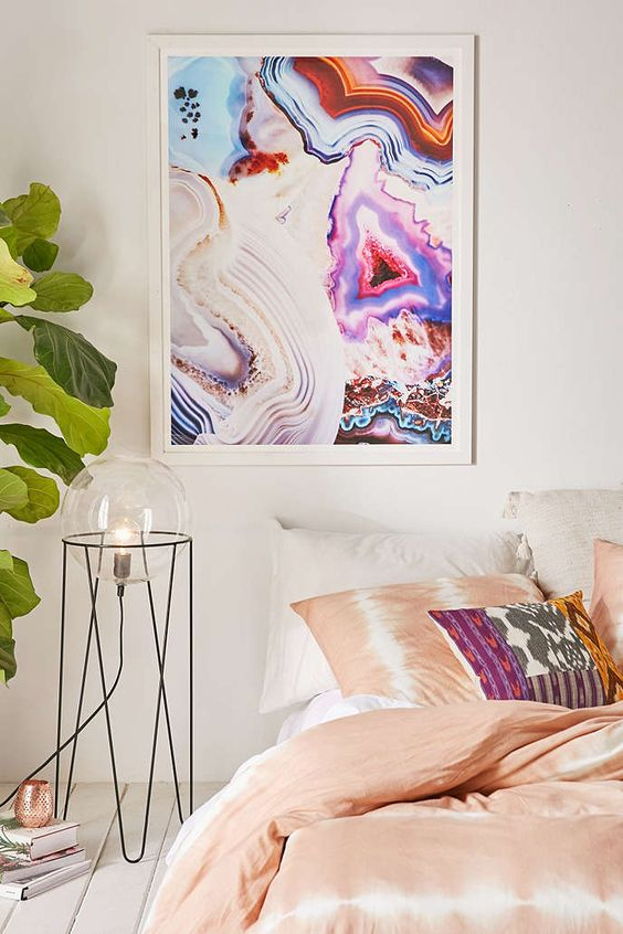 a bold crystal wall art will add a colorful touch to your interior