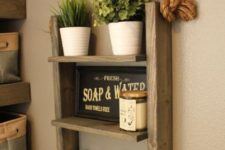05 make a comfy rope ladder shelf with a beach feel for your bathroom
