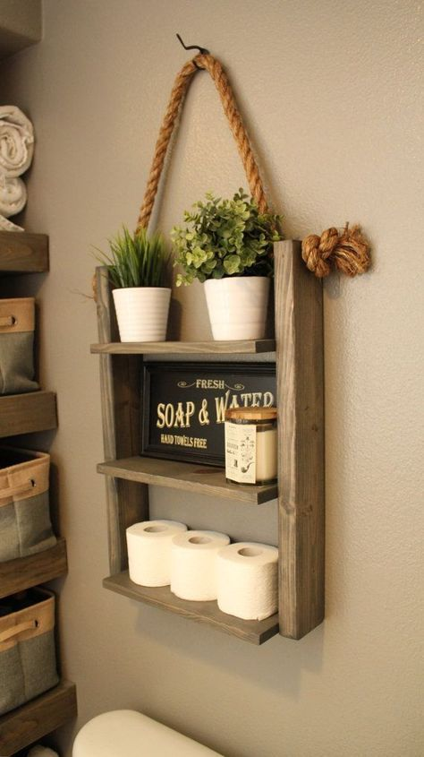 make a comfy rope ladder shelf with a beach feel for your bathroom