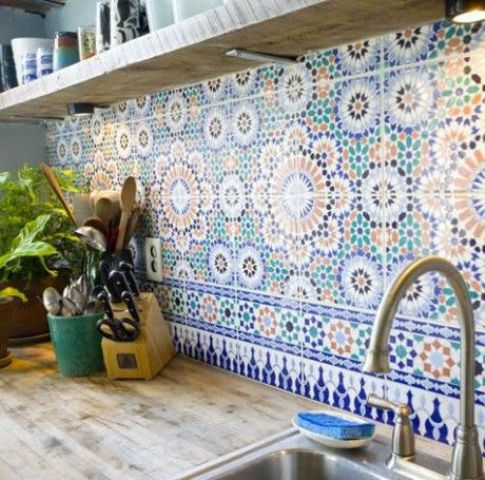 colorful patterned Morocan inspired tiles will spruce up your kitchen decor