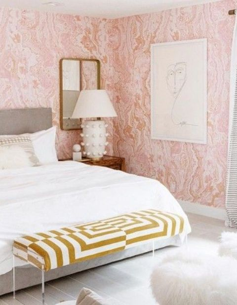 pink agate printed wallpaper is an ideal choice for a girlish bedroom
