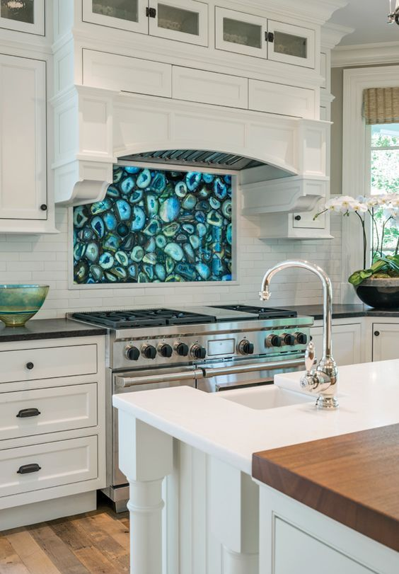 a blue agate backsplash is an edgy idea for a contemporary kitchen