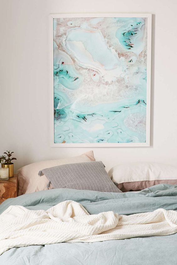 a custom colorful agate print in a frame is a great way to add a modern feel to the space