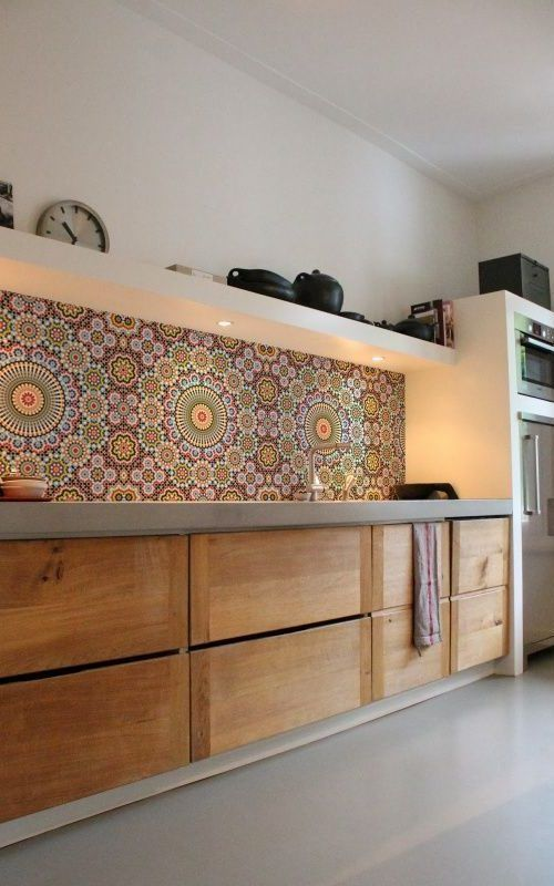 colorful and bright patterned Moroccan tiles make a statement in this neutral space