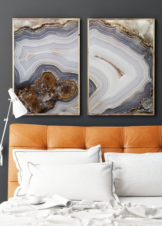 a duo of agate printed artworks in frames for a modern and edgy feel in your bedroom