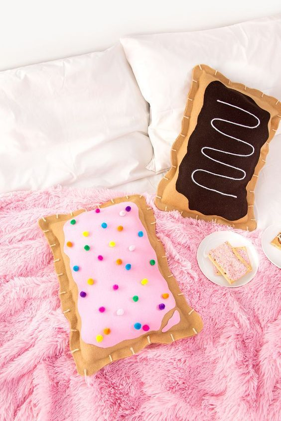 such no sew pop tart pillows are ideal for a girlish bedroom