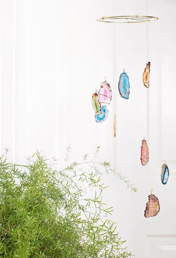 a gorgeous boho-inspired agate slice dream catcher is a cool decoration for a free-spirited feel