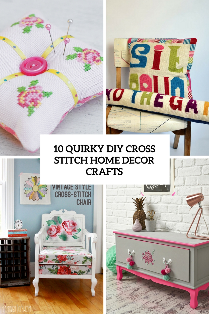 quirky diy cross stitch home decor crafts cover