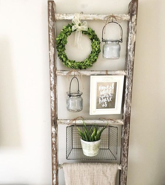 a shabby chic ladder shelf for displaying your favorite stuff