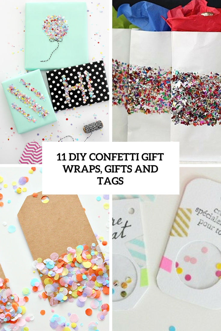diy confetti gift wraps, bags and tags cover
