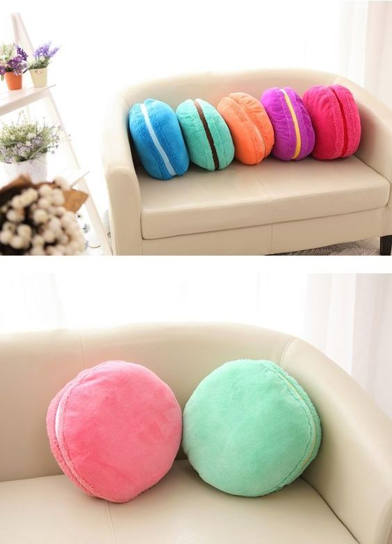 colorful macaron pillows in various shades to add a cute touch