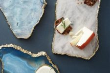 13 agate and geode cheese boards with a gilded edge look very refined and chic
