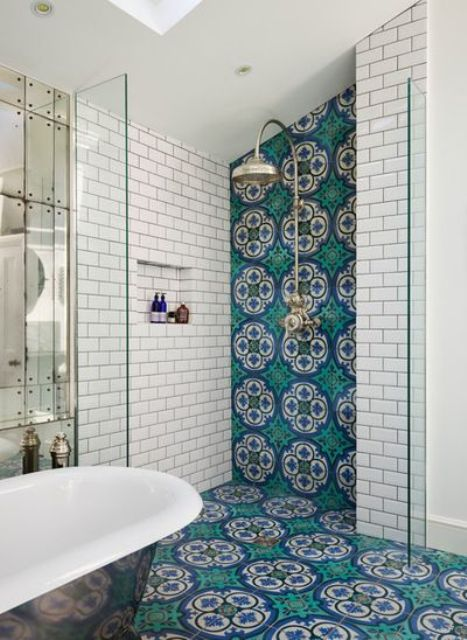 make your bathroom bright with blue and turquoise Moroccan tiles on one wall and floor