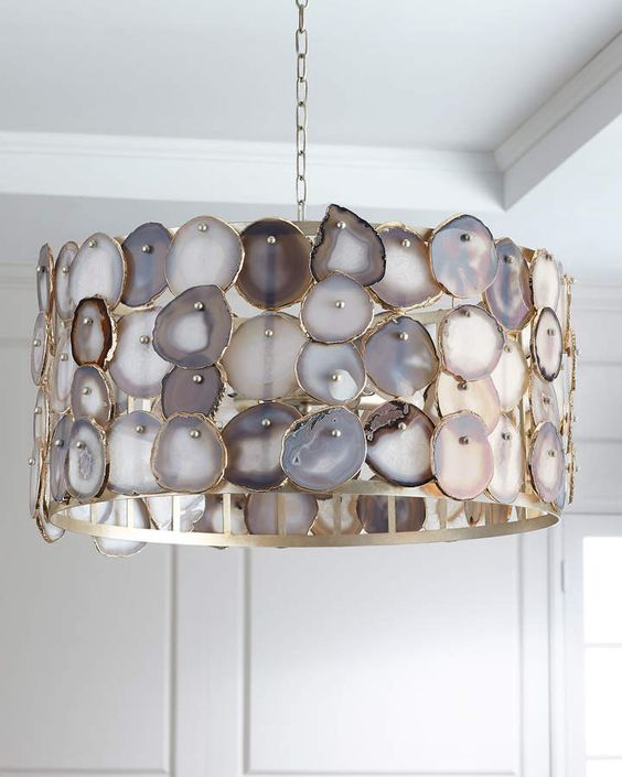 an agate covered pendant lamp is a unique statement not only for a kitchen