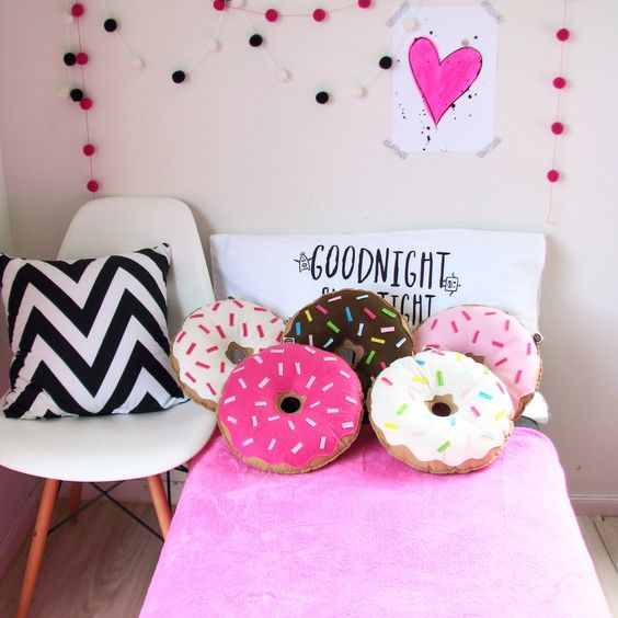 colorful donut pillows will brighten up any room and both adults and kids will like them