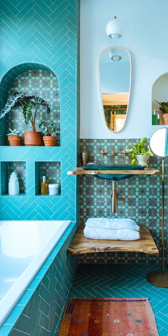 turquoise bathroom floor tiles 15 bright moroccan tiles ideas for your home shelterness 21057
