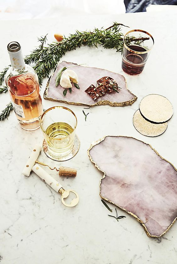 pink agate cheese boards with a rough gilded edge will make any party sophisticated