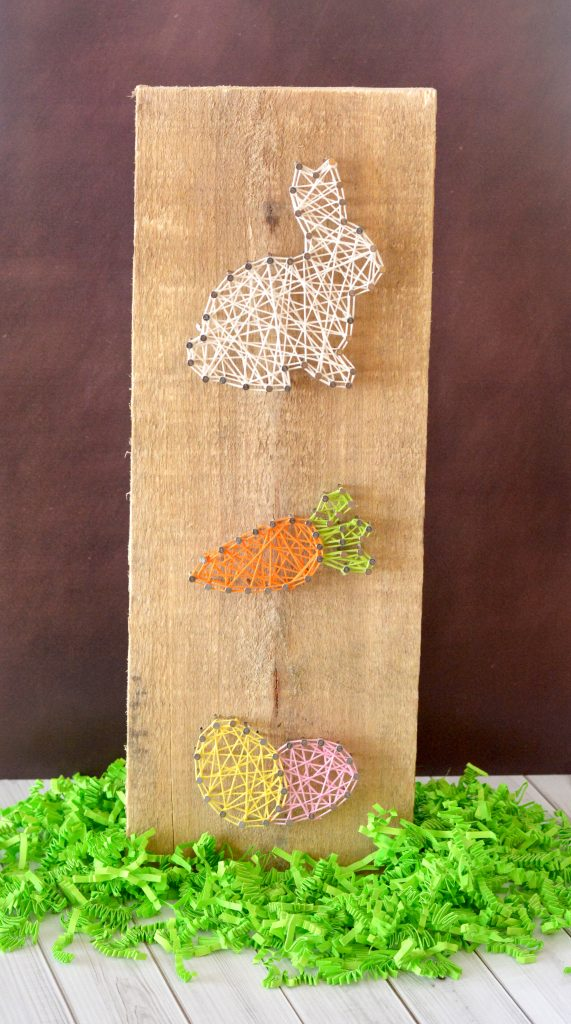 DIY Easter bunny, carrot and eggs string art (via www.survivingateacherssalary.com)