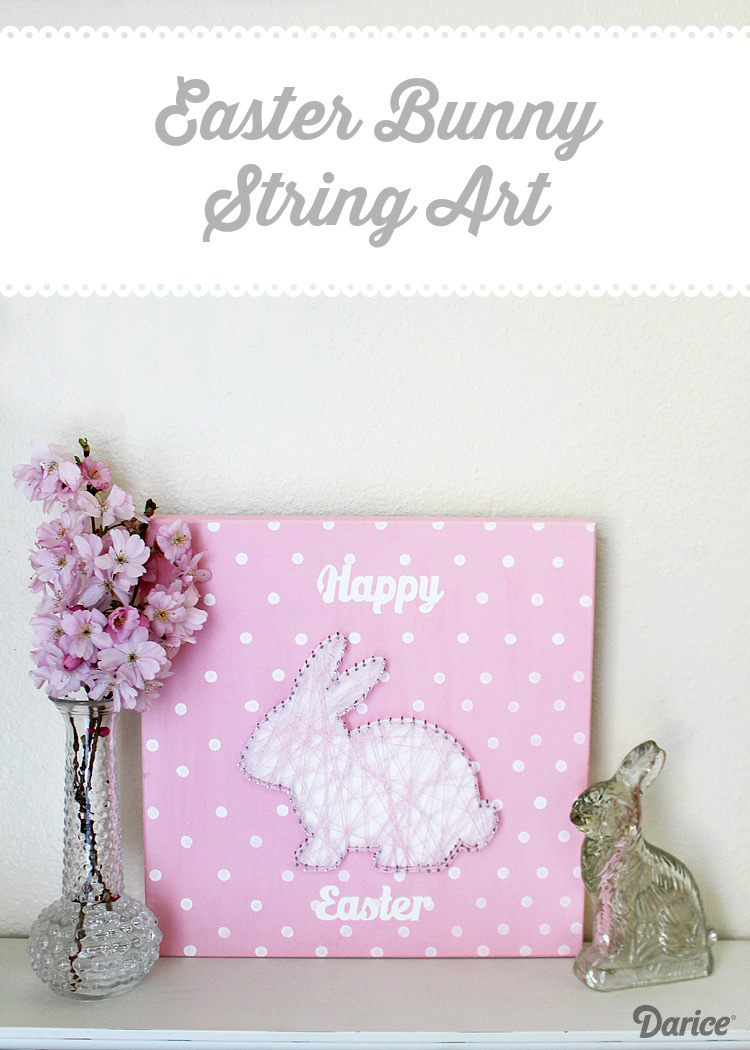 DIY pink polka dot bunny string art