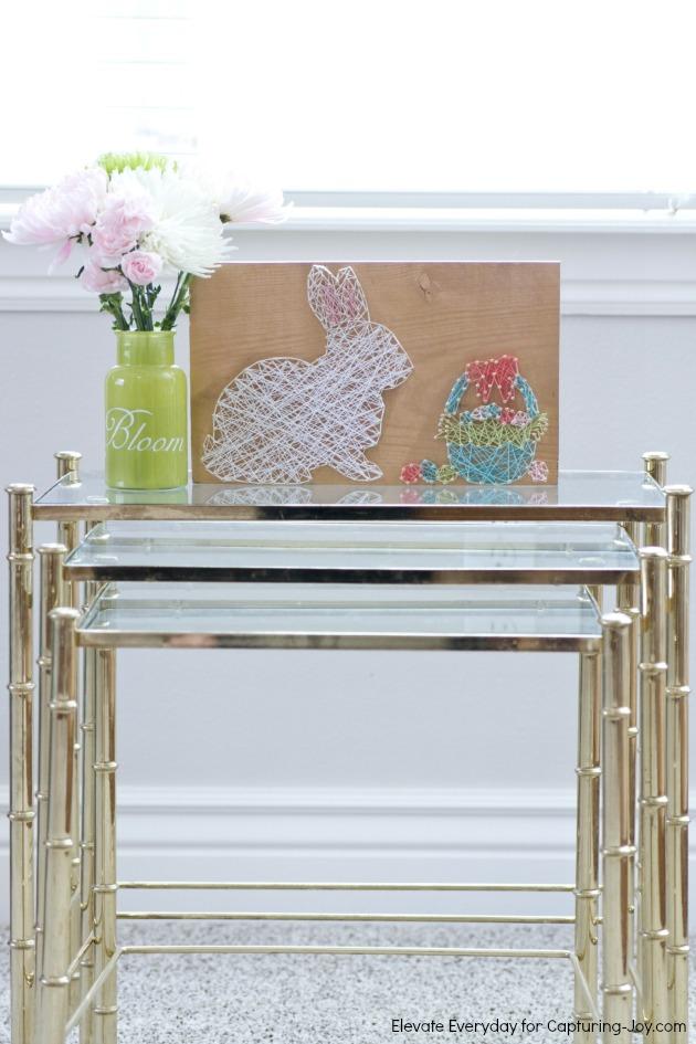 DIY Easter bunny and a basket of eggs string art (via www.kristendukephotography.com)