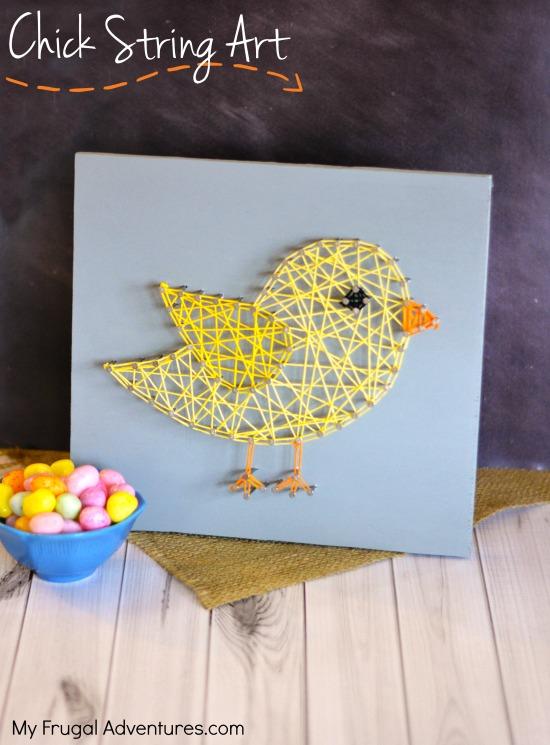 DIY chick string art for Easter