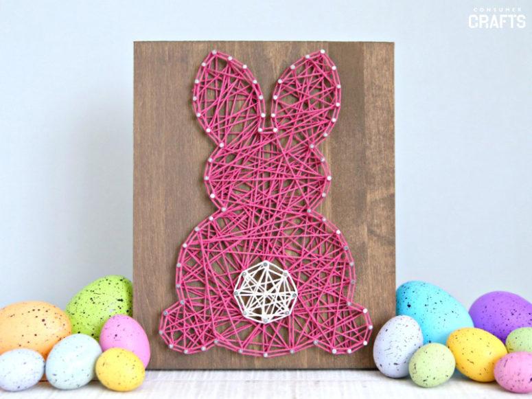 DIY pink bunny Easter string art (via blog.consumercrafts.com)