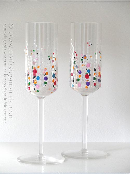 DIY colorful confetti champagne glasses