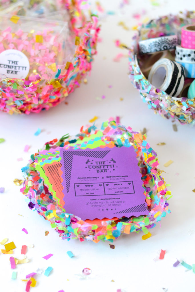 DIY colorful confetti bowls