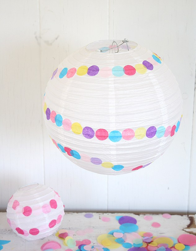 DIY confetti paper party lantern