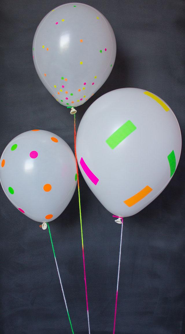 DIY neon confetti balloons (via www.designimprovised.com)