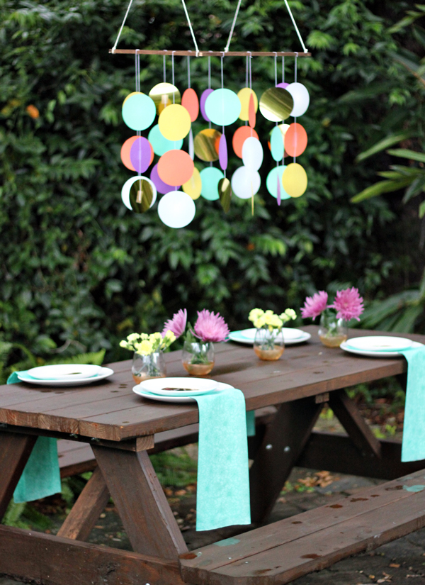 DIY large paper confetti chandelier