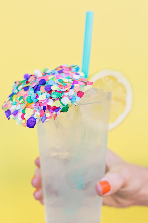 DIY confetti cocktail umbrellas