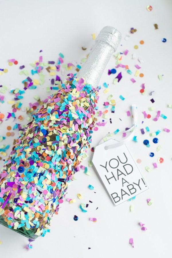 DIY confetti dipped champagne bottles (via www.thisheartofmineblog.com)