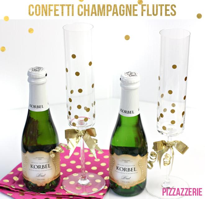 DIY gold confetti champagne glasses (via pizzazzerie.com)