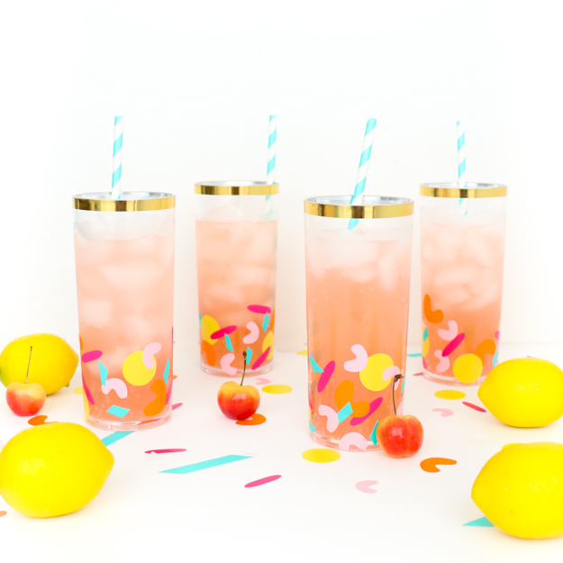 DIY confetti acrylic glasses (via akailochiclife.com)