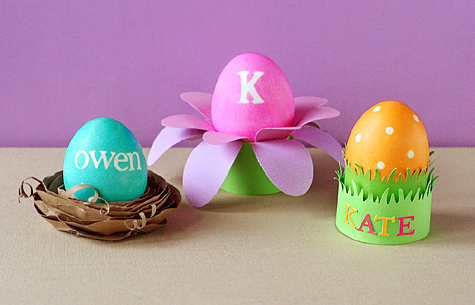 DIY colored paper Easter egg holders