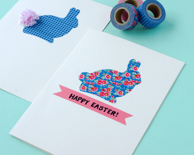 DIY washi tape Easter bunny cards with pompoms (via www.omiyageblogs.ca)