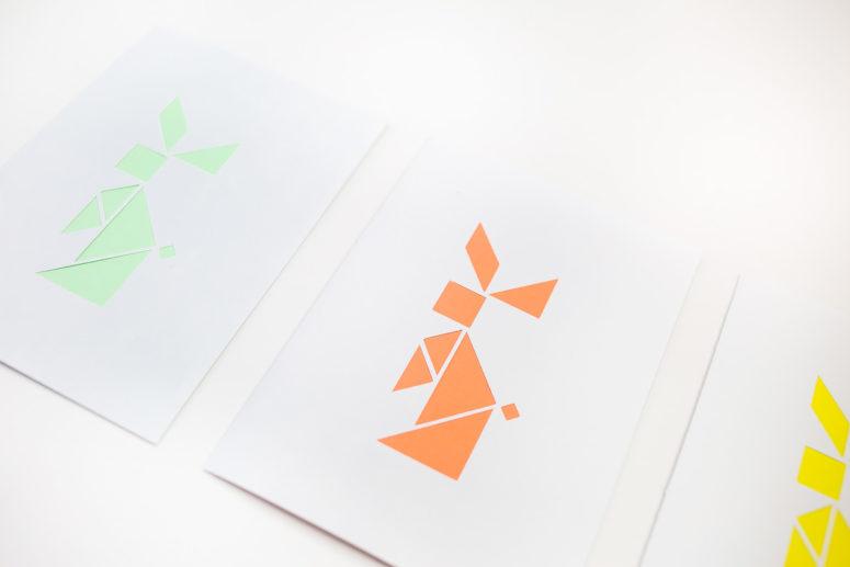 DIY Easter tangram bunny card (via tinselandtrim.com)